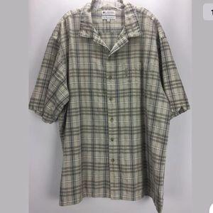 Columbia Plaid Button Down Tan Shirt 2XL oo3